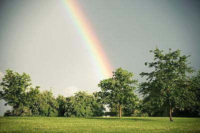 天空,彩虹,契约,堪萨斯城,美,公园,长椅,水平画幅,符号,夏天