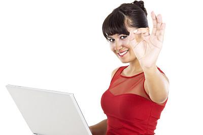 青年女人,笔记本电脑,彩妆,电子邮件,黑发,仅成年人,知识,青年人,彩色图片,魅力