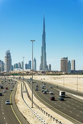 哈利法塔,迪拜,城市天际线,阿拉伯联合酋长国,德国高速公路,垂直画幅,未来,无人,交通,户外