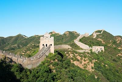 长城,自然,水平画幅,山,建筑,旅行者,要塞,非凡的,建筑业,北京