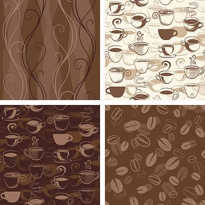 式样,咖啡,壁纸,绘画插图,烤咖啡豆,饮食,褐色,无人,浓咖啡,四方连续纹样