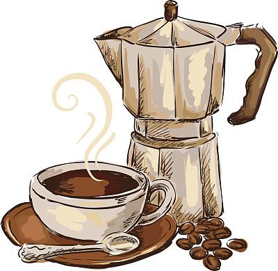 咖啡,咖啡壶,绘画插图,烤咖啡豆,饮食,铅笔画,茶碟,浓咖啡,饮料,摩卡咖啡