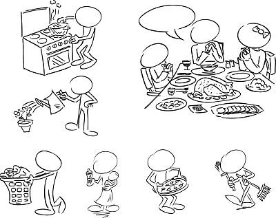 空白的,性格,住宅内部,智能卡,留白,桌子,绘画插图,女佣,矢量,食品