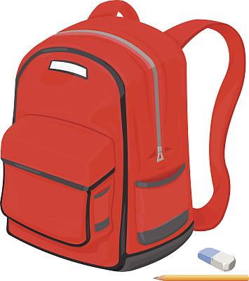 书包,铅笔,橡皮擦,滑板公园,童年,肩包带,背包,无人,绘画插图,剪贴画