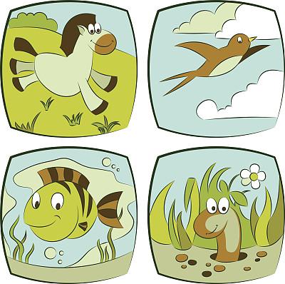 自然,水,天空,风,草地,绘画插图,藻类,泥土,动物身体部位,野外动物