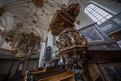 丹麦,哥本哈根,三一教会,讲道坛,中殿,天文台,17世纪图片,水平画幅