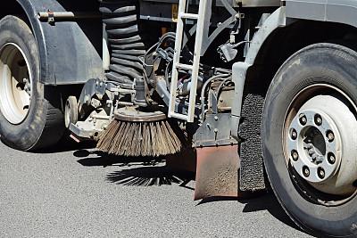 街道清洁工,扫帚,环境净化,选择对焦,留白,水平画幅,高视角,无人,陆用车,户外