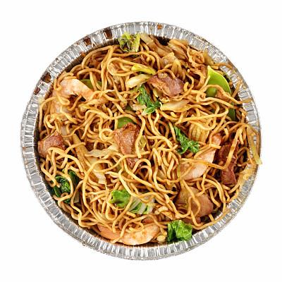 炒面,中式外卖,咕噜肉,咕噜鸡,咕噜菜,亮色调,高视角,开胃品,金属,白色