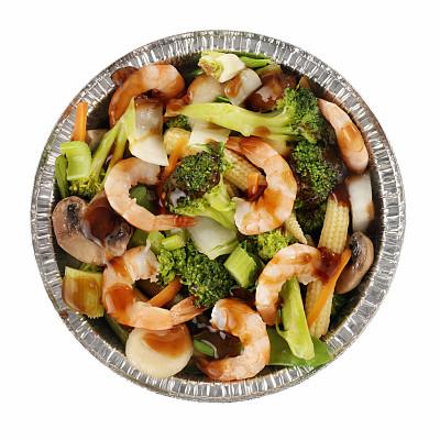 中式外卖,虾,多样,蔬菜,黑豆酱,咕噜肉,咕噜菜,黑豆,小罐,调味器皿