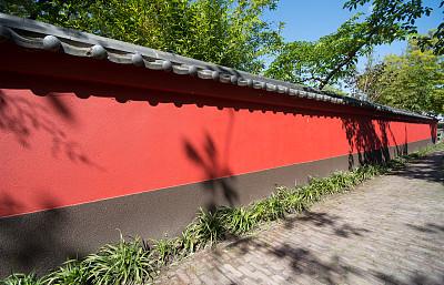 星和园,红色,围墙,有围墙花园,挡土墙,水平画幅,墙,无人,日本,阴影