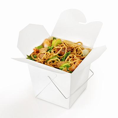 中式外卖,炒面,咕噜肉,咕噜鸡,面条,咕噜菜,盒子,亮色调,垂直画幅,高视角