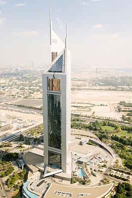 阿联酋大厦,迪拜,都市风景,高处,街道,白昼,都市风光,热霾,垂直画幅,高视角
