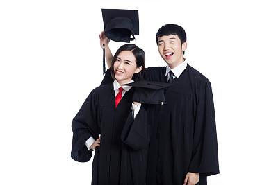 快乐,两个人,白色,分离着色,毕业礼服,水平画幅,男性,仅成年人,知识,青年人
