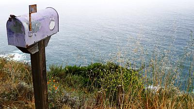 大苏尔,邮筒,海岸线,无人,2015年,图像,户外,水平画幅,邮件,摄影