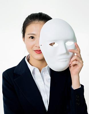 女商人,拿着,面膜,亚洲,撒谎者,化妆面具,不诚实,两面派,垂直画幅,正面视角