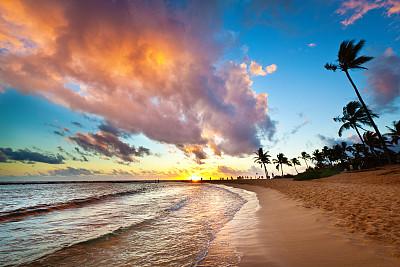 考艾岛,夏威夷,海滩,鸡尾酒,天空,留白,水平画幅,椰子树,人群,旅行者