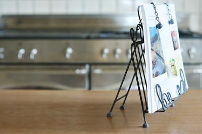 食谱,灶台,书架,铁艺,概念和主题,饮食,住宅房间,休闲活动,水平画幅,无人