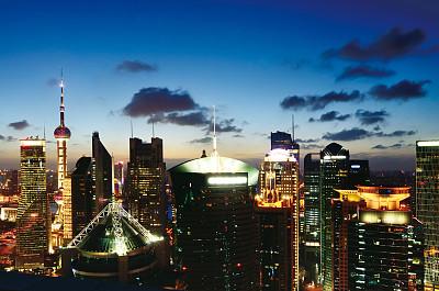 上海,金融,中心,金茂大厦,东方明珠塔,浦东,天空,水平画幅,高视角,夜晚