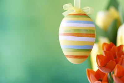 复活节,背景聚焦,留白,春天,水平画幅,绿色,橙色,无人,悬挂的,条纹