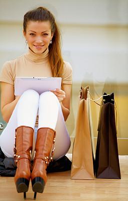 在家购物,使用平板电脑,垂直画幅,美人,电子商务,户外,白人,仅成年人,信用卡