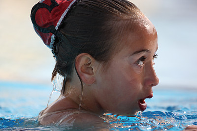 面部表情,花样游泳,图像聚焦技术,选择对焦,水,美,彩妆,水平画幅,竞技运动,美人
