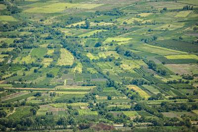 开垦地,在上面,格洛斯特郡,风,水平画幅,高视角,纹理效果,早晨,英格兰,夏天