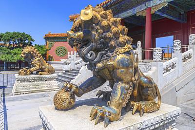 故宫,狮子,北京,狮子山石狮,明朝风格,贴身保镖,留白,灵性,古老的,安全