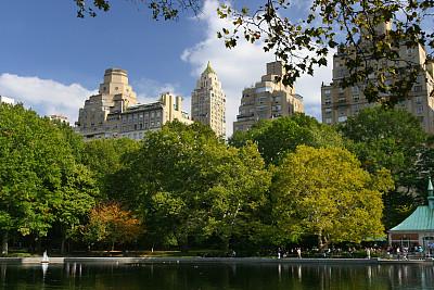 中央公园,水,天空,蓝色,纽约州,池塘,阳光房,玩具船,公园,水平画幅