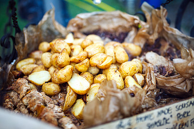 农业市集,羊肉串,选择对焦,格子烤肉,水平画幅,无人,古典式,生食,膳食,精制土豆