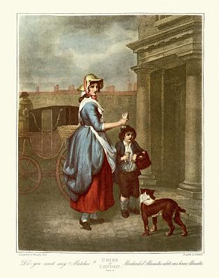 伦敦,火柴,乔治王时代风格,18世纪风格,平板印刷,特色服装,丘比特,垂直画幅,服务业职位,市区路