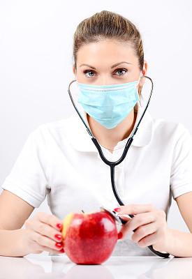 健康保健,苹果,女性,白色人种,概念,垂直画幅,面罩,美人,牙医