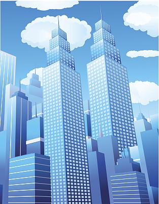 市区,窗户,天空,无人,蓝色,绘画插图,房地产,城市生活,建筑外部,高大的