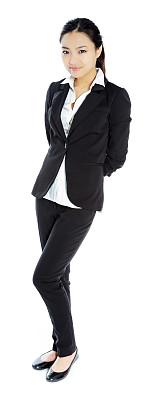 女商人,美女,白色背景,分离着色,垂直画幅,留白,黑发,套装,仅成年人,现代