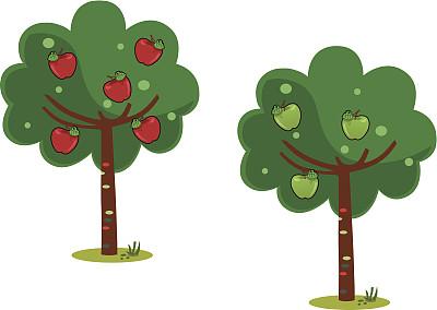 苹果树,五个物体,绿色,可爱的,水果,绘画插图,果树,卡通,红色,数字