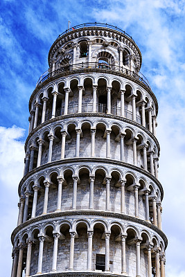 比萨斜塔,顶部,大约12世纪,奇迹广场,垂直画幅,比萨,无人,古城,户外,国际著名景点