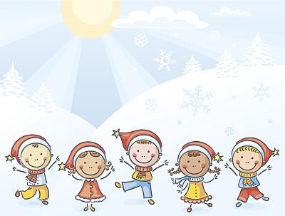 儿童,帽子,圣诞老公,绘画插图,圣诞帽,留白,学龄前,雪,人群