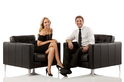 商务,扶手椅,幸福,异性恋,二郎腿,水平画幅,衬衫,伴侣,白人,男商人