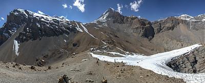 安纳普纳生态保护区,高处,尼泊尔,全景,徒步旅行,电路板,拼接的图像,安娜普娜山脉群峰,水平画幅,雪