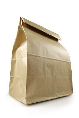 纸袋,背景分离,商务餐,盒装午餐,牛皮纸,垂直画幅,留白,折叠的,无人,膳食