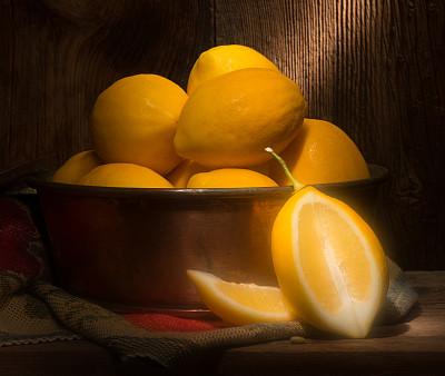 暗调,柠檬,聚光照明,铜,中国柠檬,水平画幅,黄色,水果,无人,2015年