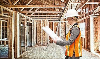 建筑工地,建筑师,女性,半身像,仅成年人,居住区,建筑业,青年人,专业人员,头饰