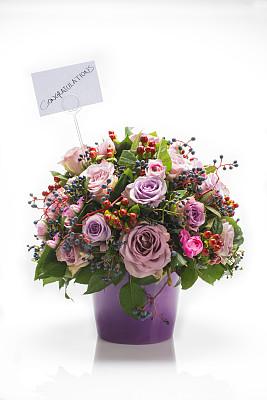 花束,垂直画幅,温带的花,美,留白,无人,玫瑰,组物体,百合花,白色