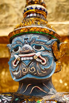魔鬼,特写,雕像,玉佛寺,垂直画幅,图像聚焦技术,选择对焦,无人,僧院,泰国