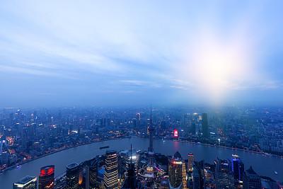 浦东,上海,水平画幅,建筑,夜晚,无人,蓝色,户外,都市风景,亚洲
