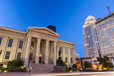 路易斯维尔,肯塔基州,市区,法院,水平画幅,夜晚,无人,黄昏,城市,建筑结构