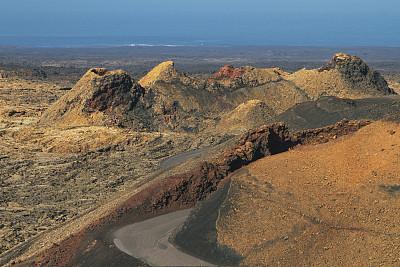 兰萨罗特岛,彩色图片,纹理,火山,陆地,美,水平画幅,无人,火山地形,大西洋群岛