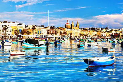马萨什洛克,马耳他,渔镇,马耳他群岛,渔船,水,古老的,夏天,海滩,过时的
