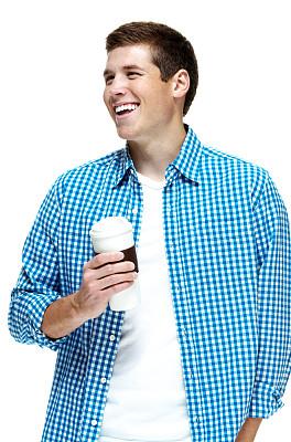 青年男人,幸福,咖啡杯,卷袖,垂直画幅,正面视角,半身像,一次性杯子,白人,咖啡