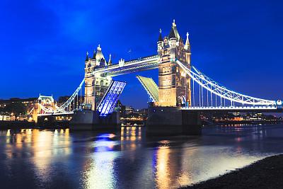 塔桥,夜晚,伦敦,琴码,泰晤士河,旅游目的地,水平画幅,无人,欧洲,英格兰