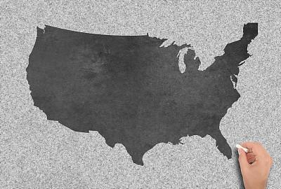美国,黑板,国际边境,粉笔画,艺术,水平画幅,纹理效果,形状,古老的,白色